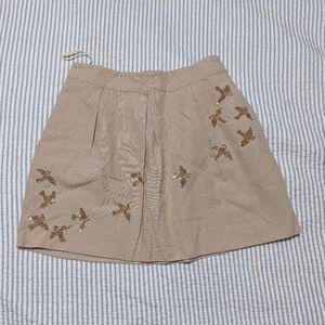 Anthropologie Leif Notes Gold Glitter Skirt